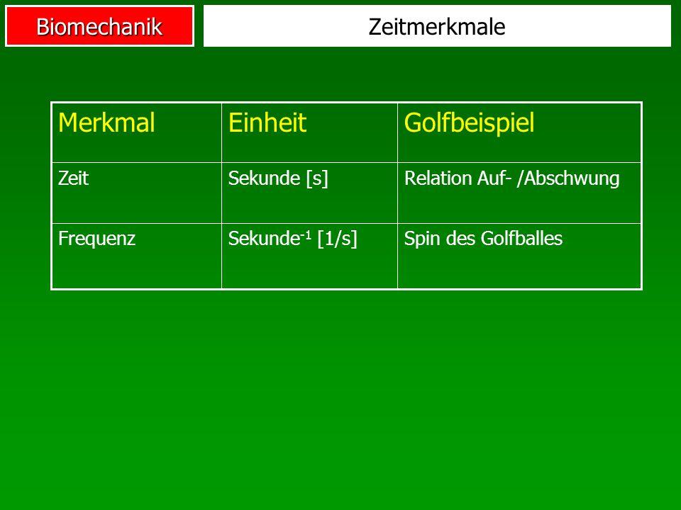Merkmal Einheit Golfbeispiel Zeitmerkmale Zeit Sekunde [s]